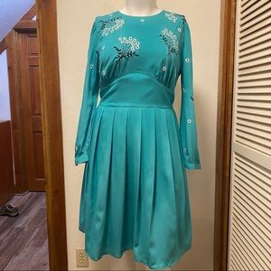 New eShakti Teal Embroidered Dress
